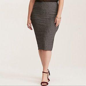 Glitter Ribbed Knit Pencil Skirt